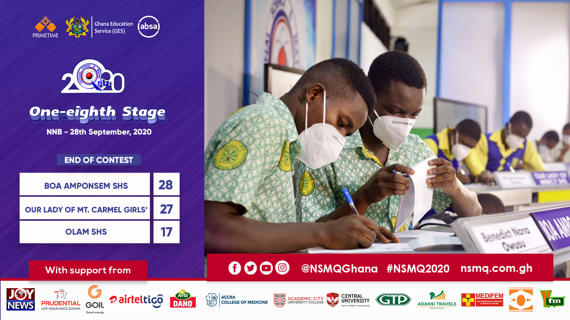 2020NSMQ: Boa Amponsem SHS makes a miraculous win to qualify to the Quarterfinal Stage 3