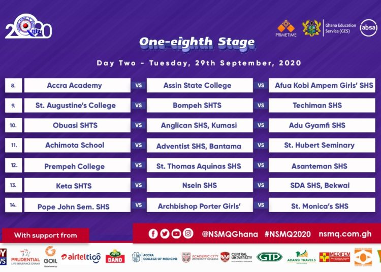 2020 NMSQ: Fixtures for NSMQ One-eighth Stage 4